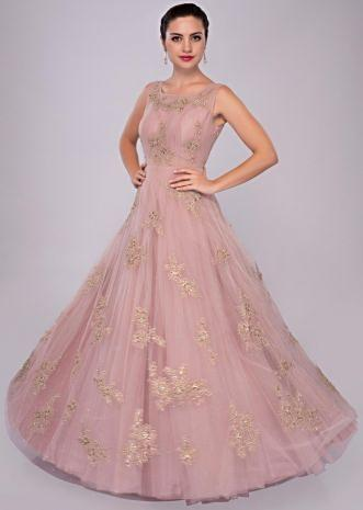 lemonade pink net gown with floral embroidered butti