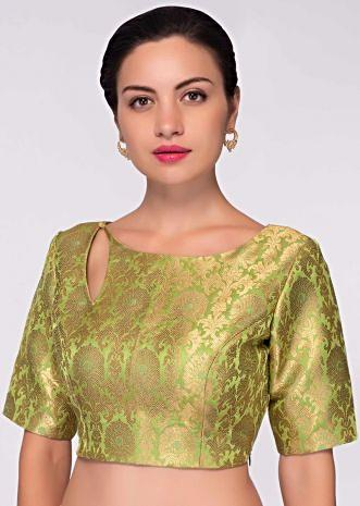 Light green brocade blouse in floral motif