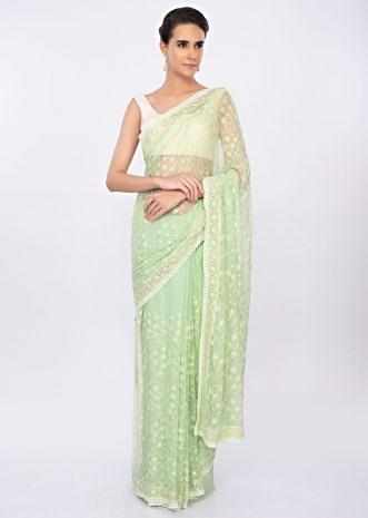 Light green chiffon saree with thread jaal work only on kalki