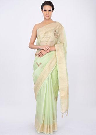 Light green organza saree with embroidered butti only on kalki
