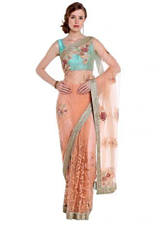 Light orange saree in net with floral applique embroidery only on Kalki