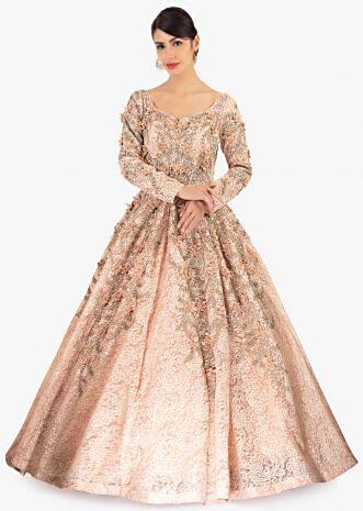 Light peach ballroom lace gown embellished in embroidery and 3 D flowers