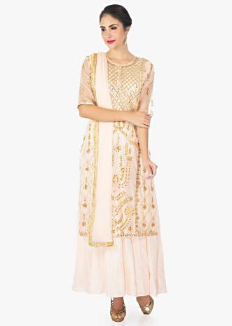 Light peach organza silk top matched with cotton inner and chiffon dupatta
