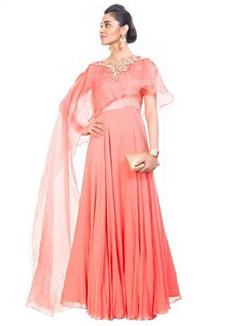 Light Salmon Gown With Long Cape