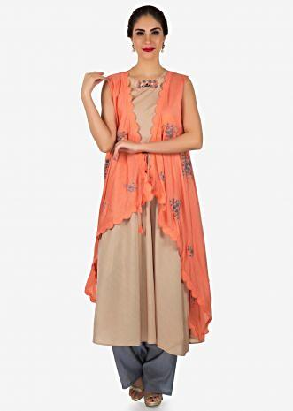 Light  brown suit with peach embroidered jacket only on Kalki