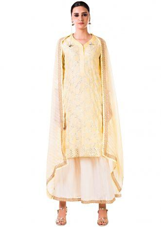 Light Yellow Gota work Chanderi Kurta and Chanderi Palazzo Pants with a Lehriya Dupatta