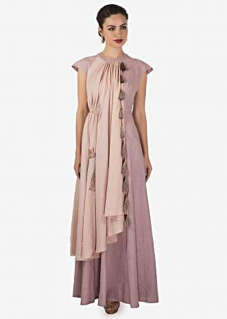 Lilac and cream dress enhanced in gathers and cut dana work in cat motif only on Kalki