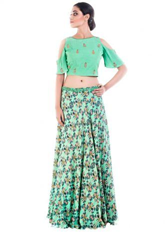 Lime Green Cold Shoulder Crop Top Skirt Set