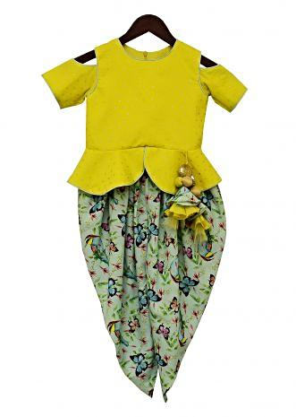 Lime Green Embroidery Top with Pista Green Printed Dhoti by Fayon Kids