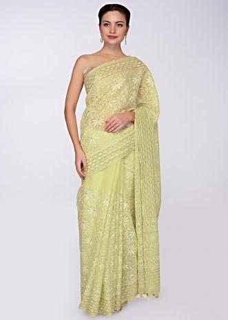 Lime yellow organza saree in chicken embroidery only on Kalki