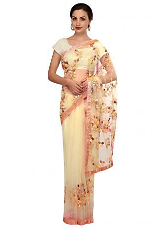 Lime yellow saree in 3D flower and sequin butti only on Kalki