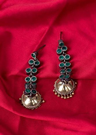 Long chain dangler with jhumkas drop only on Kalki