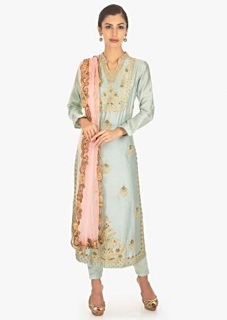 Long embroidered suit with cotton pants and pink net dupatta
