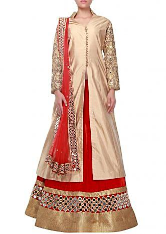 Long Jacket lehenga in gold and red adorn in mirror embroidery only on Kalki