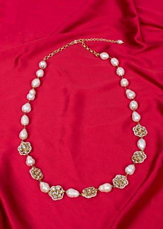 Long traditional necklace crafted with mother of pearls only on Kalki