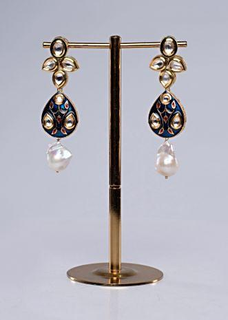 Long traditional persian blue chandelier earring with meenakari work