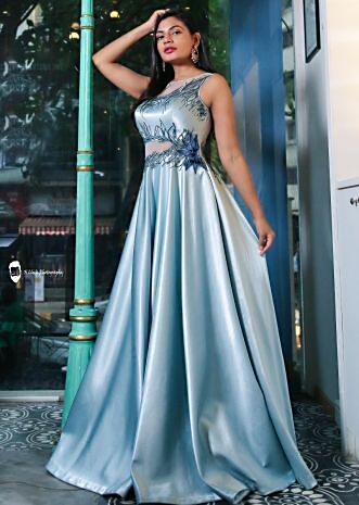Megha Bajaj in kalki Ice blue gown in satin with sequin and cut dana embroidered bodice