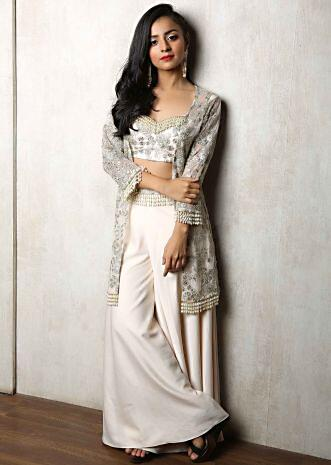 Mahhima Makwana in Kalki off white three piece palazzo set