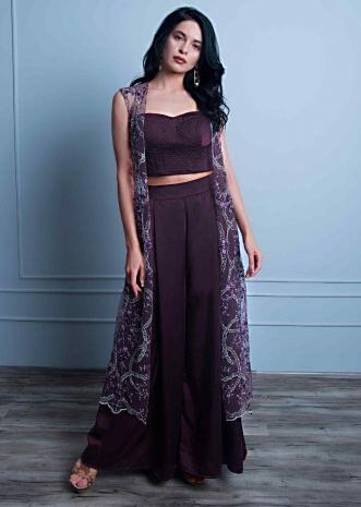 4d7281c0a595 Mahogany satin palazzo with matching crop top and heavy embroidered long  net jacket only on Kalki ...