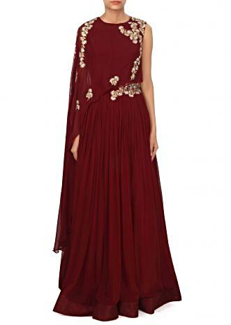 Maroon dress with fancy embellished cape only on Kalki