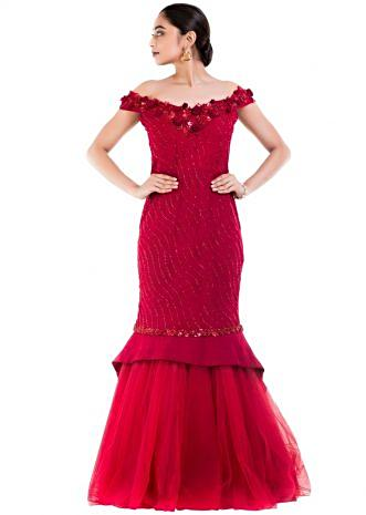 Maroon Fishtail Off Shoulder Gown