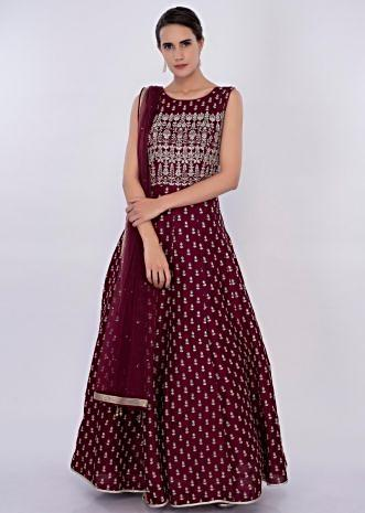 Maroon raw silk anarkali dress in embroidered butti only on Kalki