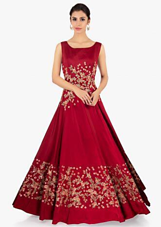 Maroon satin gown in floral embroidery
