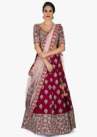 Maroon Lehenga in Silk with a ready blouse Elevated in Embroidery only on Kalki