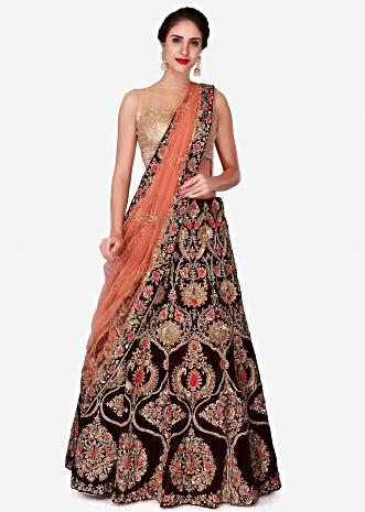 Maroon semi-stitched lehenga adorn in thread and zardosi embroidery work only on Kalki