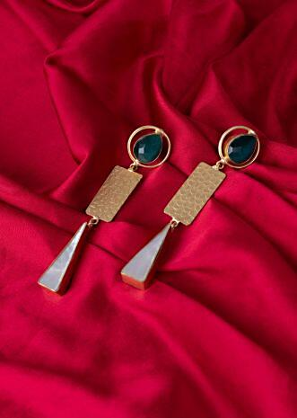 Metal coated long drop earring only on Kalki