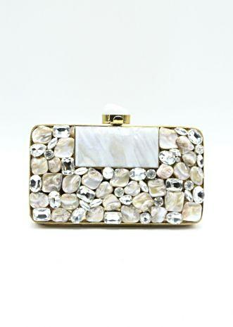 Metal coated rectangular clutch box with adorn with semi precious stone
