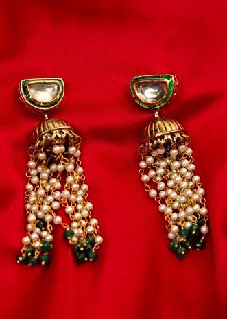 Metallic nano jhumkas with moti chain string dangler