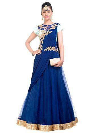Midnight & Aqua Blue Gown Saree