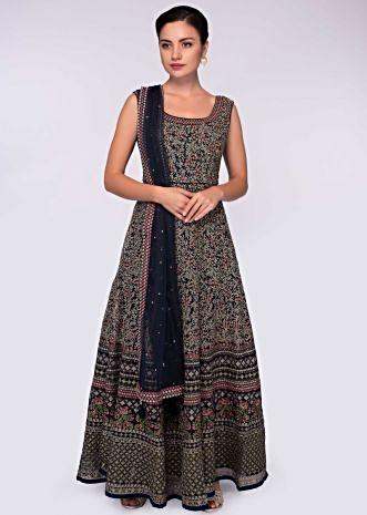 Midnight blue anarkali net gown in jaal embroidery