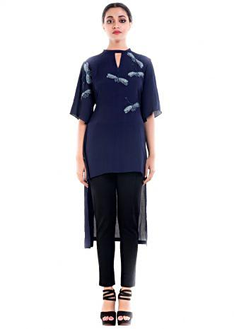 Midnight Blue Dragonfly Embellished Tunic