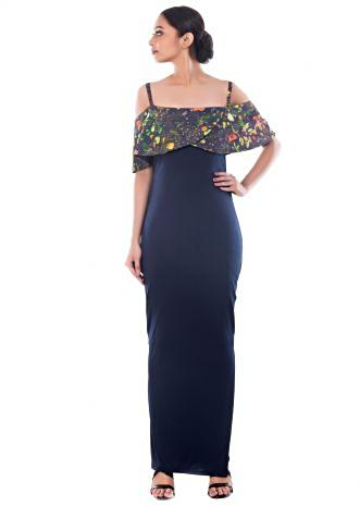 Midnight Blue Garden Print off shoulder Dress