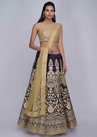 409bb5a705 Midnight blue raw silk lehenga with golden net dupatta only on Kalki