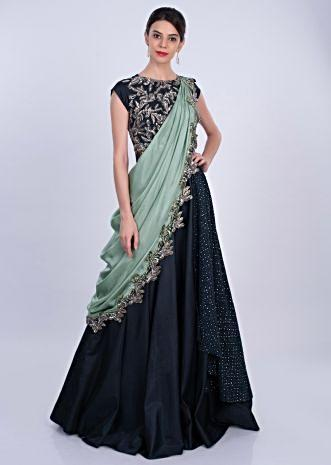 Midnight blue silk gown with fern green pre stitch satin dupatta in applique work only on Kalki