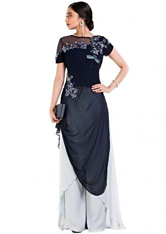 Midnight Blue Tunic With Layered Palazzo Pant