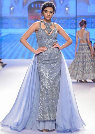 Mineral alloy blue A line embroidered net gown with organza and net back kali with trail