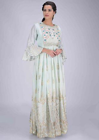 871dd97ea6 Mint blue cotton silk and chiffon gown with foil print only on Kalki ...