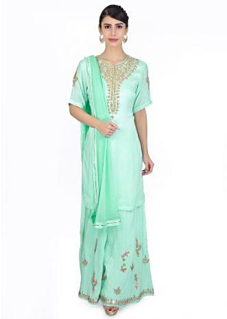Mint blue cotton suit paired with embroidered palazzo and  chiffon dupatta