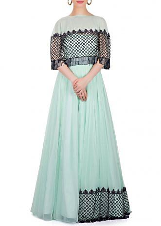 Mint Blue Georgette and Net Gown Designed with Cut Dana Work only on Kalki
