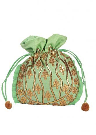 Mint blue gotta patch Work silk Potli Bag only on Kalki