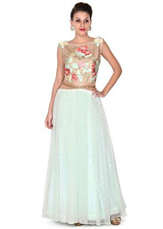 Mint blue gown adorn in resham and sequin only on Kalki