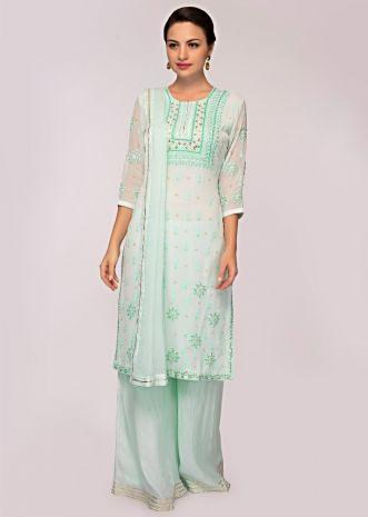 Mint blue thread embroidered georgette suit with cotton palazzo and chiffon dupatta