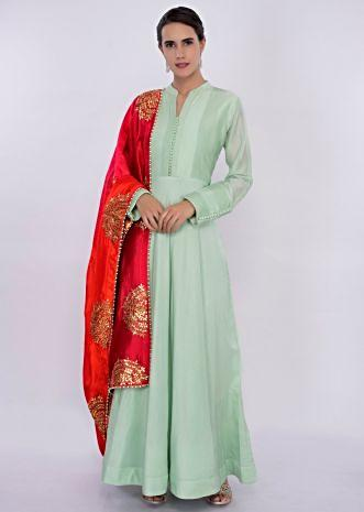 Mint green anarkali dress with shaded dupatta only on Kalki