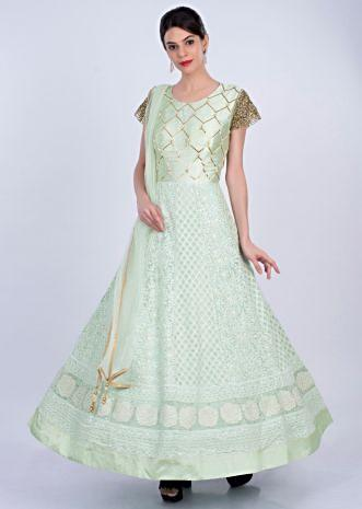 Mint green anarkali gown in alternate embroidery only on Kalki