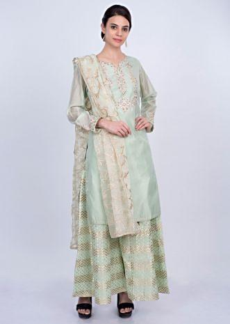 Mint green cotton palazzo suit set with organza dupatta only on Kalki