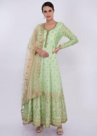 Mint green cotton silk anarkali dress in floral embroidery and butti only on Kalki